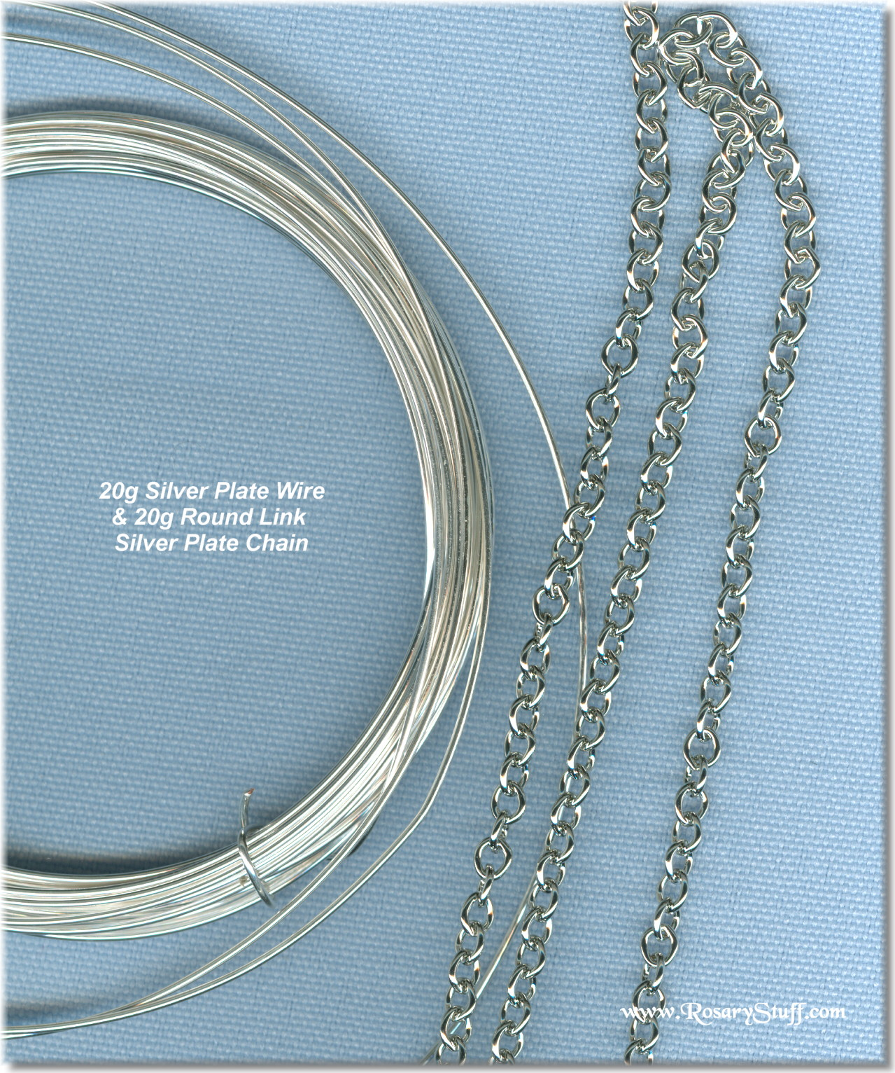 20g silver plate wire/round link chain